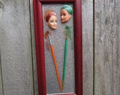 Painted Ladies - upcycled framed Barbie assemblage