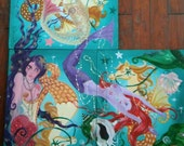 Mermaid, triad, puzzle Painting , 1 of 3 , gold & Orange , Singing Siren , Dame Darcy , surrealist, avante guarde , nautical