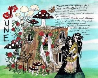 COLOR Dame Darcy, Meat Cake , original art, hand drawn, comix, comics, manga, print, zine, 2017 witchcraft calendar, page art, June