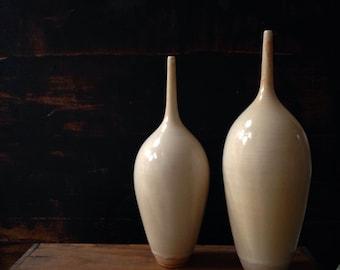 Ships now-  2 light cream yellow bottle ceramic vases by sara paloma pottery