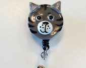 Retractable Badge Holder Fused Glass Cat (Gray)