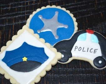 Decorated Police themed cookies Academy Retirement Thank you to all who serve us! car, hat, cap, badge