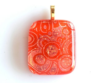 Red Gold Pendant  - Dichroic Glass Pendant  - Fused Glass Pendant - Holiday Necklace - Mesh Necklace