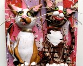 Cat Art - Funny Valentines Day Art - Original Painting with Polymer Clay Cats - Valentine Cat - Cat Valentine's Day Gift