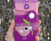 Violet pink wool pouch bag purse cellphone cozy needle felted pink birdie bird and flower