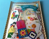 vintage mixed illustrations bag for paper lovers