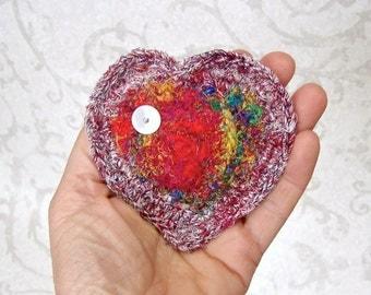 Rainbow Silk Heart - Handmade Tapestry Lavender Sachet - Unique Romantic Gift For Her - Silk Heart Lingerie Scented Drawer Sachet STLH03