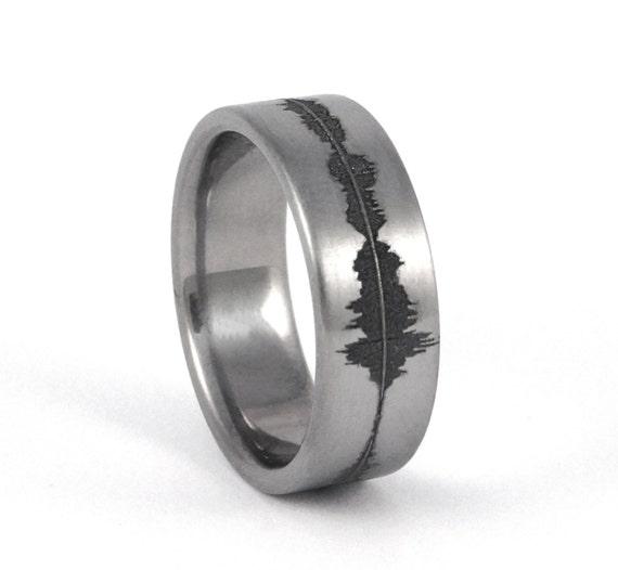 Cool Men S Wedding Rings: Custom Titanium Soundwave Ring Geek Wedding Band For Him