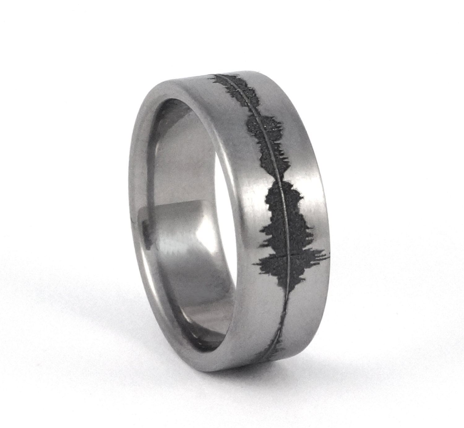 Custom Titanium Soundwave Ring Geek Wedding Band for him