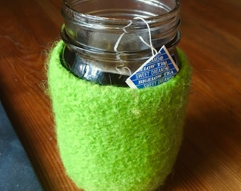 Felted wool mason jar cozy without jar