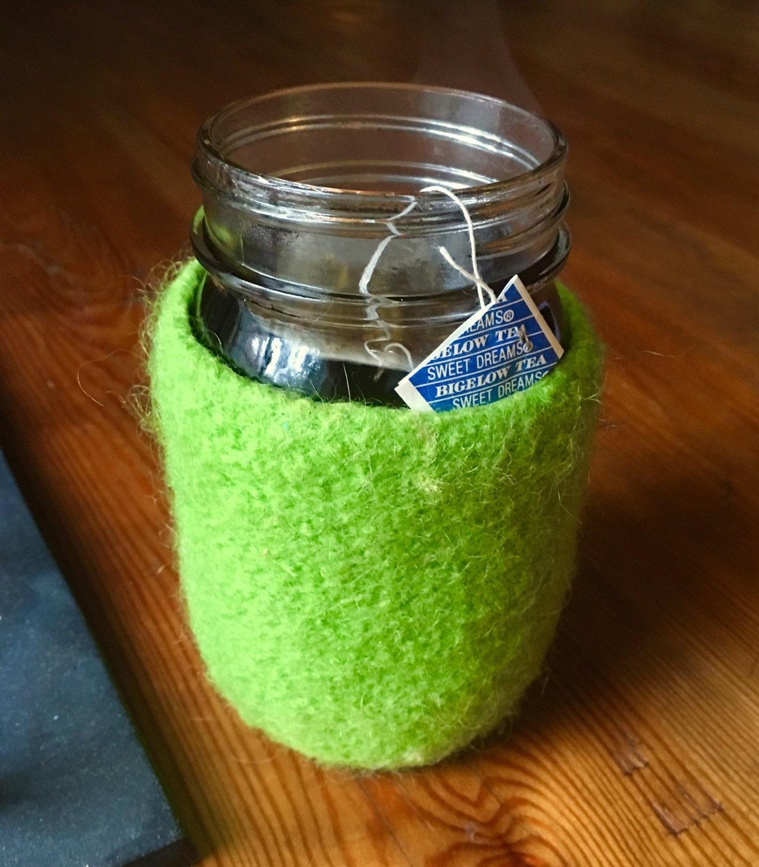 felted wool mason jar cozy without jar. Black Bedroom Furniture Sets. Home Design Ideas
