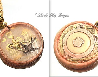 Fly Free Antique Pocket Watch Necklace Cast Resin Swallow Birds One-of-a-Kind Two Sided Pendant