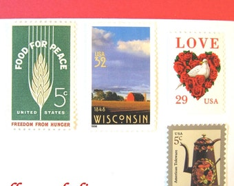Rustic Wedding Vintage Postage Stamps, Love Dove Red Roses - Farm Stamp, Mail 20 Madison Wisconsin Wedding Invitations 2 oz 70 cents postage