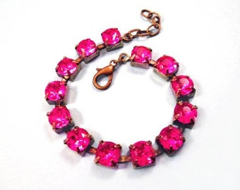 Rhinestone Bracelet, Fuschia Glass Rhinestone and Brass Beaded Bracelet, FREE Shipping U.S.