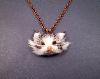 Fun Fur Necklace, Pretty Kitty, Real Rabbit Fur Pendant and Copper Necklace, FREE Shipping U.S.