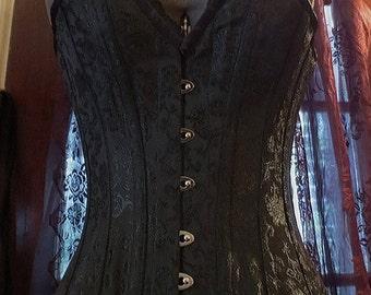 ON SALE Black Brocade Deep V Overbust Corset Size 20 Gothic