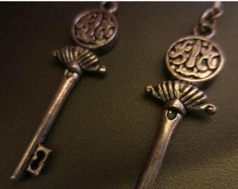 ON SALE Steampunk Gunmetal Skeleton Key Dangle Earrings