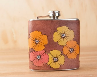 Flask - Leather Flask - Flower Flask - 6oz Flask - Handmade in the Poppy Garden pattern in yellow, orange, pink and antique mahogany