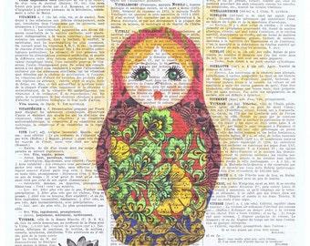 Russian Doll,Matroyshka.Babushka.Altered Book Pages,Paris,Colourful Nesting Doll.Eastern European,HomeDeco.freebie.art.print.christmas.eco