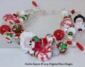 reserved for Vicky B !! Sterling Silver RED Christmas Santa Lampwork bracelet 3 interchangeable strands SRAJD