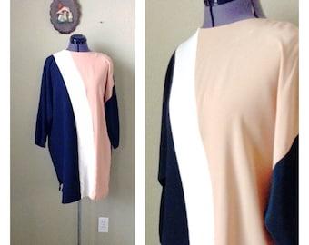 Vintage 80s avant garde color block shift dress ~ Black and Tan ~ street fashion