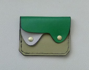 Green Leather Wallet, Small Leather Wallet, Coin Purse, Card Case, Leather Wallet, Leather Coin Purse