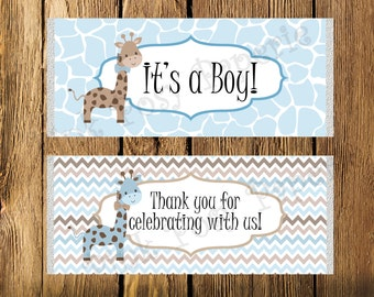 Printable Blue Giraffe Boy Baby Shower Large Candy Bar Wrappers - Instant Download