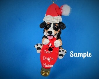 Tri Color Australian Shepherd Santa dog OOAK Christmas Holidays Light Bulb Ornament Sally's Bits of Clay PERSONALIZED FREE with dog's name