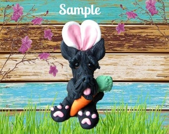 Scottish Terrier Easter Bunny dog with Carrot OOAK Clay art sculpture by Sally's Bits of Clay