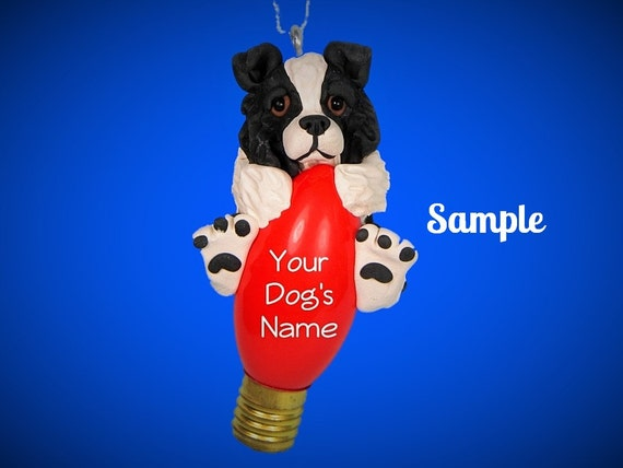 black and white Border Collie Dog Christmas Holidays Light Bulb Ornament Sally's Bits of Clay OOAK PERSONALIZED FREE with dog's name