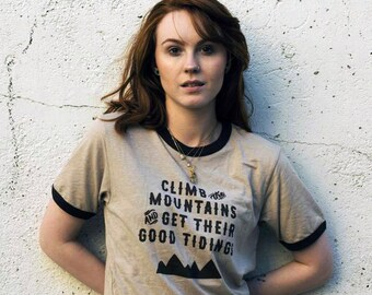 Climb the Mountains and Get Their Good Tidings - Womens Illustrated John Muir Ringer Tee - Inspirational Adventure Clothing, Screen printed