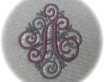 Machine Embroidered Monogram Personalized Initial on Vintage Chenille Bedspread Quilt Charm Square M2M