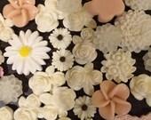 White Beige Pink Mix Flower Cabochon Destash - Over 100 pieces