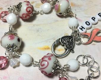 Breast Cancer Awareness, charm bracelet, handmade, one of a kind,  OOAK, bostoncharm altered art jewelry