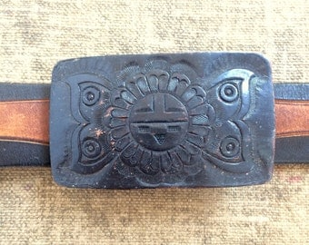 Southwestern Belt Buckle - Vintage Leather Belt Buckle