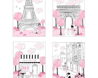 Paris Art, Prints, Pink Black Gray, Eiffel Tower, Iconic Landmarks Art, Girls Paris Bedroom Decor,Paris Cafe, Unframed 8 x 10 art,Wall Decor