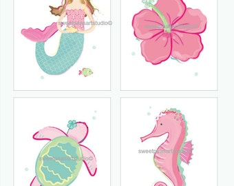 Mermaid Art, Girls Mermaid, Art Prints For Girls Pinks, Teals & Greens Bedding Decor, Mermaid Hibiscus Decor, Choose your 8 x 10 set size