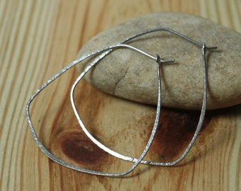 Handmade hammered large stainless steel hoop 38x35mm, one pair (item ID SS29G20)