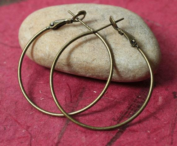 Antique brass hoop earwire 35mm, 6 pcs (item ID YWABHB00230)