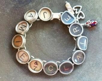 JAMIE & CLAIRE - Outlander Book Series Inspired Antique Typewriter Key Bracelet