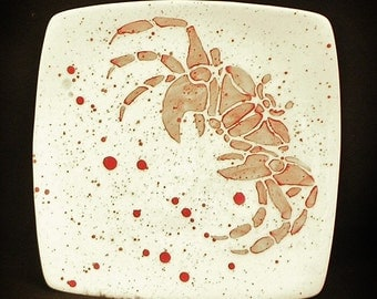 Plate. Salad. Ghost Crab. Blue Crab. Red Crab Dinner Plate. Salad Plate. Dots. Handmade by Sara Hunter Designs
