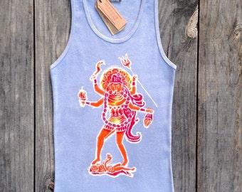 Kali tank top yoga batik women hand drawn hand painted hand dyed individually eco friendly pearl gray -yoga clothes-