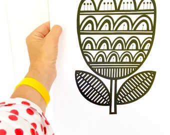 New Screen Printed Retro Tulip Screen Print by Jane Foster Scandi style Monochrome black and white