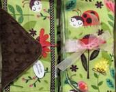 Baby Girl 4 pc ladybug Gift Set -  bee / flower garden  - Baby Shower -  blanket, bib, burp, Minky washcloth - gift boxed - Quilt Available