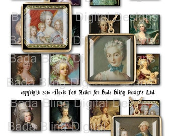 Marie Antoinette, Before The Fall...INSTANT Download at Checkout,collage sheets for jewelry, Marie Antoinette collage sheets,1.5 inch
