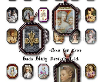 22mm x 30mm octagons,  Marie Antoinette, Before The Fall ...INSTANT Download at Checkout, Marie Antoinette collage sheets