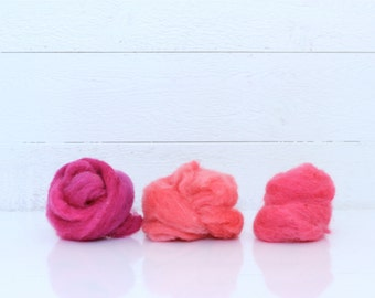 Coral, Hot Pink & Fuchsia Hand Dyed Canadian Wool