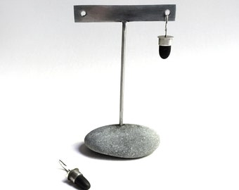 Post or Ear Wire Earring Display T Rack Holder Natural Lake Erie Beach Stone Stainless Steel Rock Jewelry Stand d