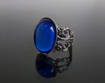Sapphire blue gothic ring - ornate filigree victorian steampunk ring - adjustable BELLA ring