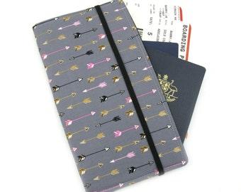Travel Organizer Wallet - Passport Holder - Family Travel Wallet - Travel Organizer - Passport wallet - Arrows on Grey